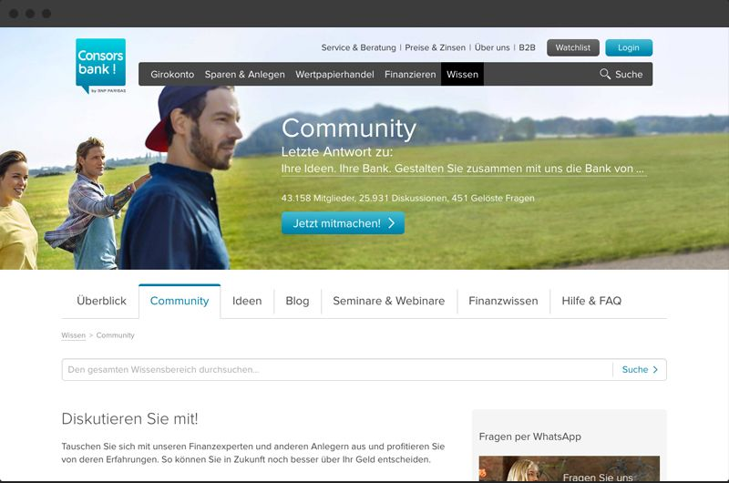 consorsbank online community platform