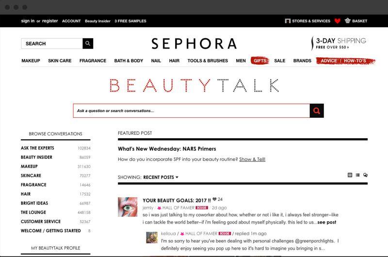 sephora online community platform